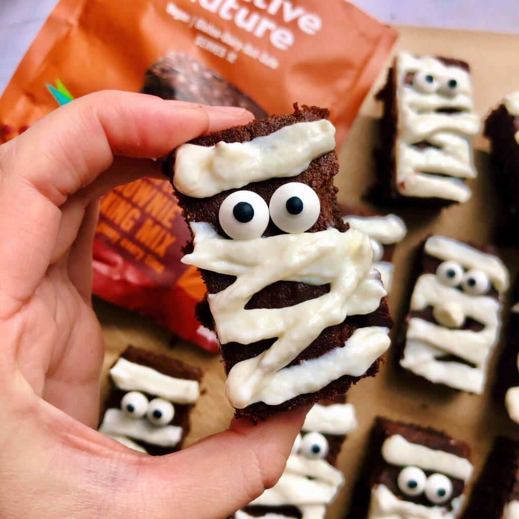 Mummified Brownies with Vegan Yoghurt Icing