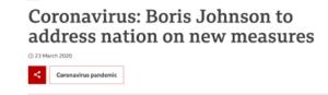 Screenshot of march 2020 news headline